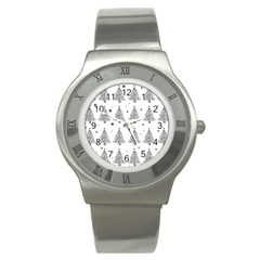 Christmas Tree   Pattern Stainless Steel Watch by Valentinaart