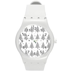Christmas Tree   Pattern Round Plastic Sport Watch (m) by Valentinaart