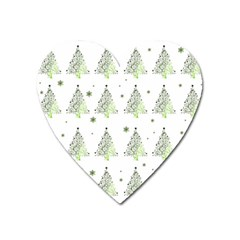 Christmas Tree - Pattern Heart Magnet by Valentinaart