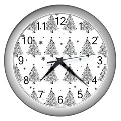 Christmas Tree   Pattern Wall Clocks (silver)