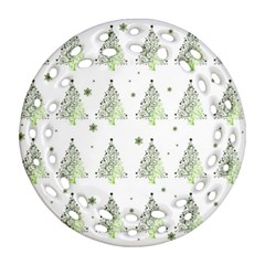 Christmas Tree   Pattern Round Filigree Ornament (two Sides)