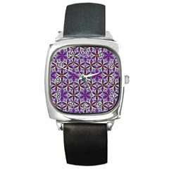 Flower Of Life Hand Drawing Pattern Square Metal Watch by Cveti