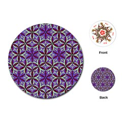 Flower Of Life Hand Drawing Pattern Playing Cards (round)  by Cveti