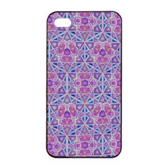 Star Tetrahedron Hand Drawing Pattern Purple Apple Iphone 4/4s Seamless Case (black) by Cveti