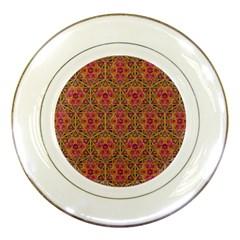 Star Tetrahedron Pattern Red Porcelain Plates by Cveti