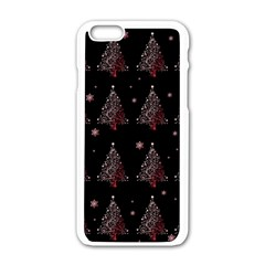 Christmas Tree   Pattern Apple Iphone 6/6s White Enamel Case by Valentinaart