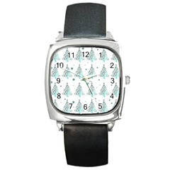 Christmas Tree   Pattern Square Metal Watch