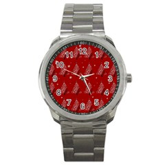 Christmas Tree   Pattern Sport Metal Watch by Valentinaart