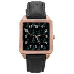 Christmas Tree   Pattern Rose Gold Leather Watch