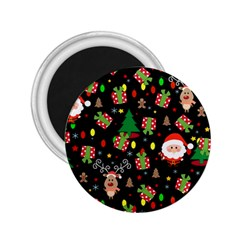Santa And Rudolph Pattern 2 25  Magnets by Valentinaart