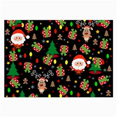 Santa And Rudolph Pattern Large Glasses Cloth by Valentinaart