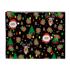 Santa And Rudolph Pattern Cosmetic Bag (xl) by Valentinaart