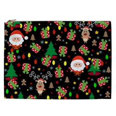Santa And Rudolph Pattern Cosmetic Bag (xxl)  by Valentinaart