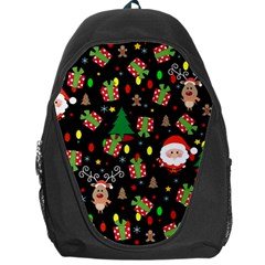Santa And Rudolph Pattern Backpack Bag by Valentinaart