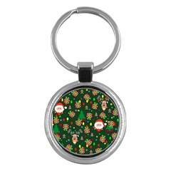 Santa And Rudolph Pattern Key Chains (round)