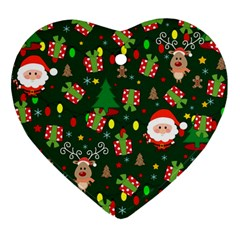 Santa And Rudolph Pattern Heart Ornament (two Sides)
