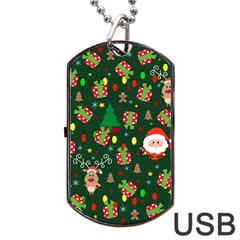 Santa And Rudolph Pattern Dog Tag Usb Flash (two Sides)