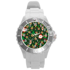 Santa And Rudolph Pattern Round Plastic Sport Watch (l) by Valentinaart