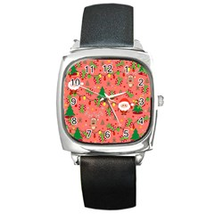 Santa And Rudolph Pattern Square Metal Watch by Valentinaart