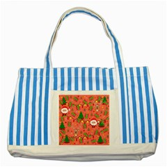 Santa And Rudolph Pattern Striped Blue Tote Bag by Valentinaart