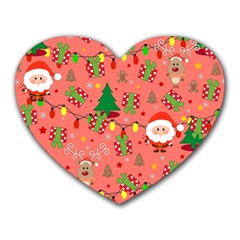 Santa And Rudolph Pattern Heart Mousepads by Valentinaart