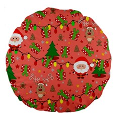 Santa And Rudolph Pattern Large 18  Premium Round Cushions by Valentinaart