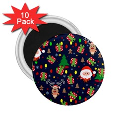 Santa And Rudolph Pattern 2 25  Magnets (10 Pack)