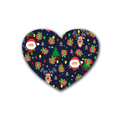 Santa And Rudolph Pattern Heart Coaster (4 Pack)