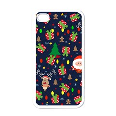 Santa And Rudolph Pattern Apple Iphone 4 Case (white)