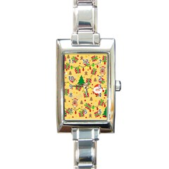 Santa And Rudolph Pattern Rectangle Italian Charm Watch by Valentinaart