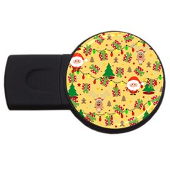 Santa And Rudolph Pattern Usb Flash Drive Round (4 Gb)
