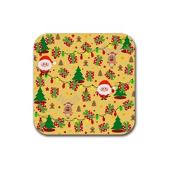 Santa And Rudolph Pattern Rubber Square Coaster (4 Pack)