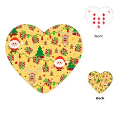 Santa And Rudolph Pattern Playing Cards (heart)