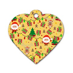 Santa And Rudolph Pattern Dog Tag Heart (one Side)