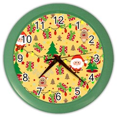 Santa And Rudolph Pattern Color Wall Clocks by Valentinaart