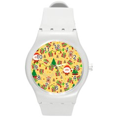 Santa And Rudolph Pattern Round Plastic Sport Watch (m) by Valentinaart