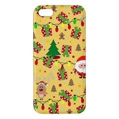 Santa And Rudolph Pattern Apple Iphone 5 Premium Hardshell Case by Valentinaart
