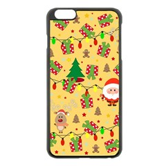 Santa And Rudolph Pattern Apple Iphone 6 Plus/6s Plus Black Enamel Case