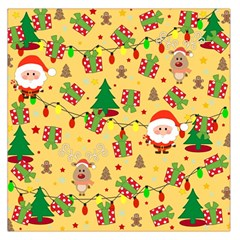 Santa And Rudolph Pattern Large Satin Scarf (square) by Valentinaart