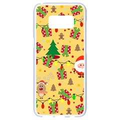 Santa And Rudolph Pattern Samsung Galaxy S8 White Seamless Case by Valentinaart