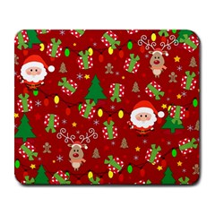 Santa And Rudolph Pattern Large Mousepads by Valentinaart