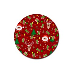 Santa And Rudolph Pattern Rubber Coaster (round)  by Valentinaart