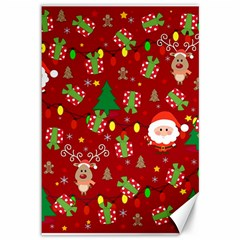Santa And Rudolph Pattern Canvas 12  X 18