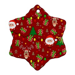 Santa And Rudolph Pattern Snowflake Ornament (two Sides)