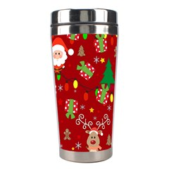 Santa And Rudolph Pattern Stainless Steel Travel Tumblers by Valentinaart
