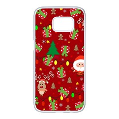 Santa And Rudolph Pattern Samsung Galaxy S7 Edge White Seamless Case