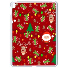 Santa And Rudolph Pattern Apple Ipad Pro 9 7   White Seamless Case