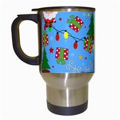 Santa And Rudolph Pattern Travel Mugs (white) by Valentinaart
