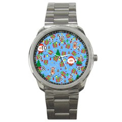 Santa And Rudolph Pattern Sport Metal Watch