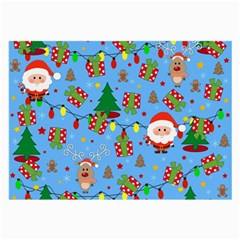 Santa And Rudolph Pattern Large Glasses Cloth (2 Side) by Valentinaart